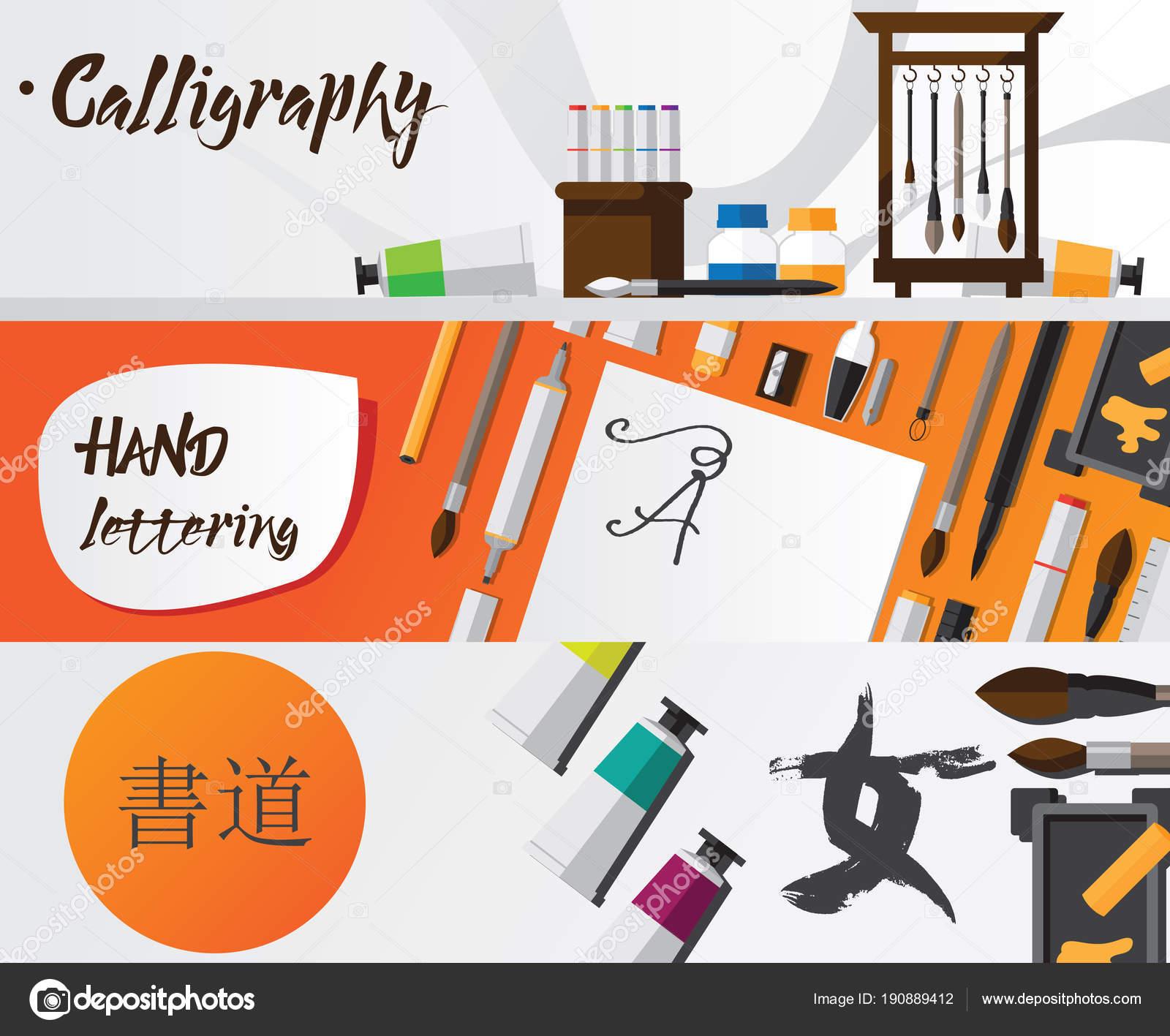 f83bd4964ec7 Vektorové ilustrace kaligrafie a nápisy nápisy s doplňky a šablony. Západní  a japonské kaligrafie design — Vektor od ...
