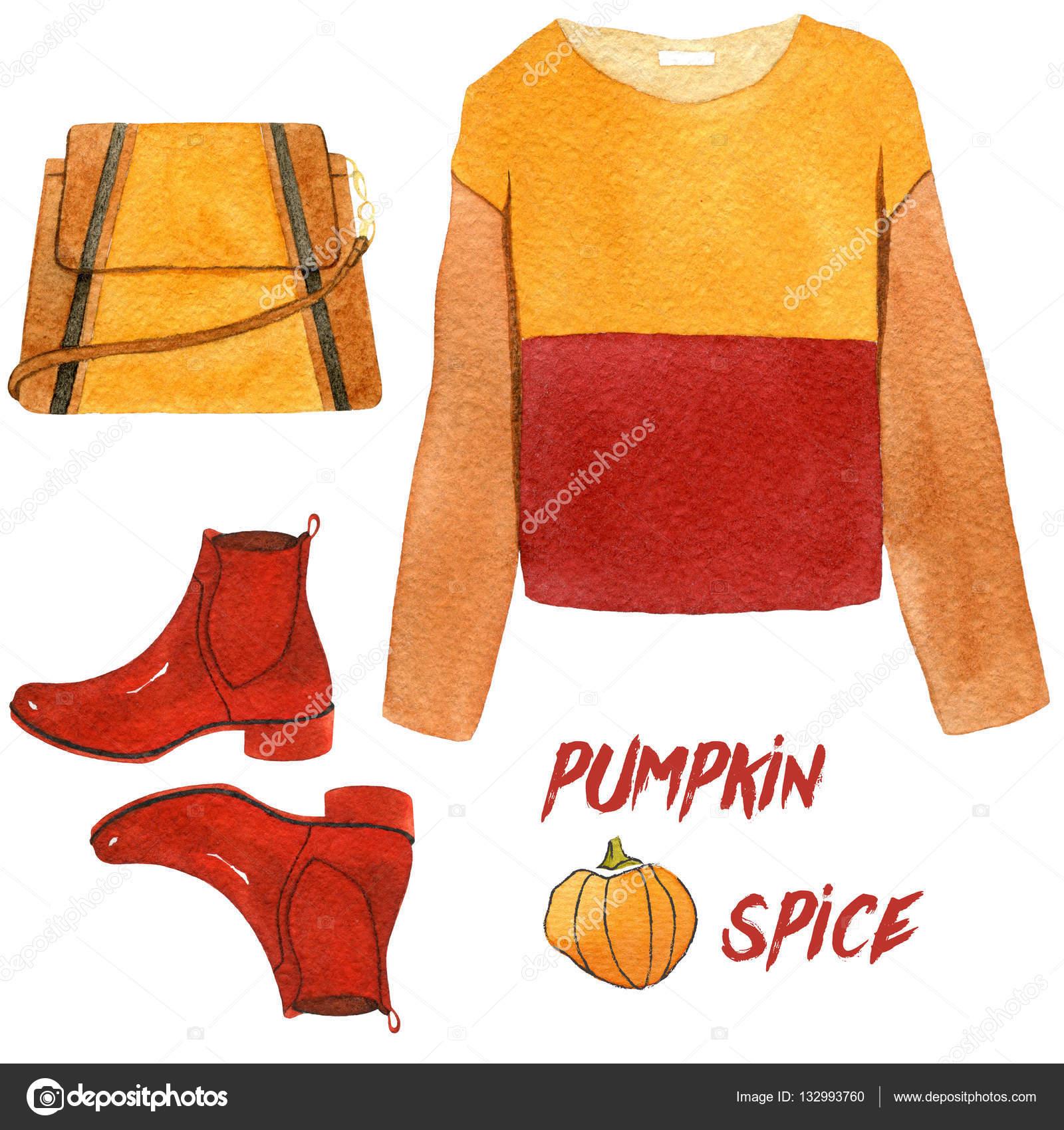 水彩のファッションのイラスト。おしゃれな秋のアクセサリーのセットです