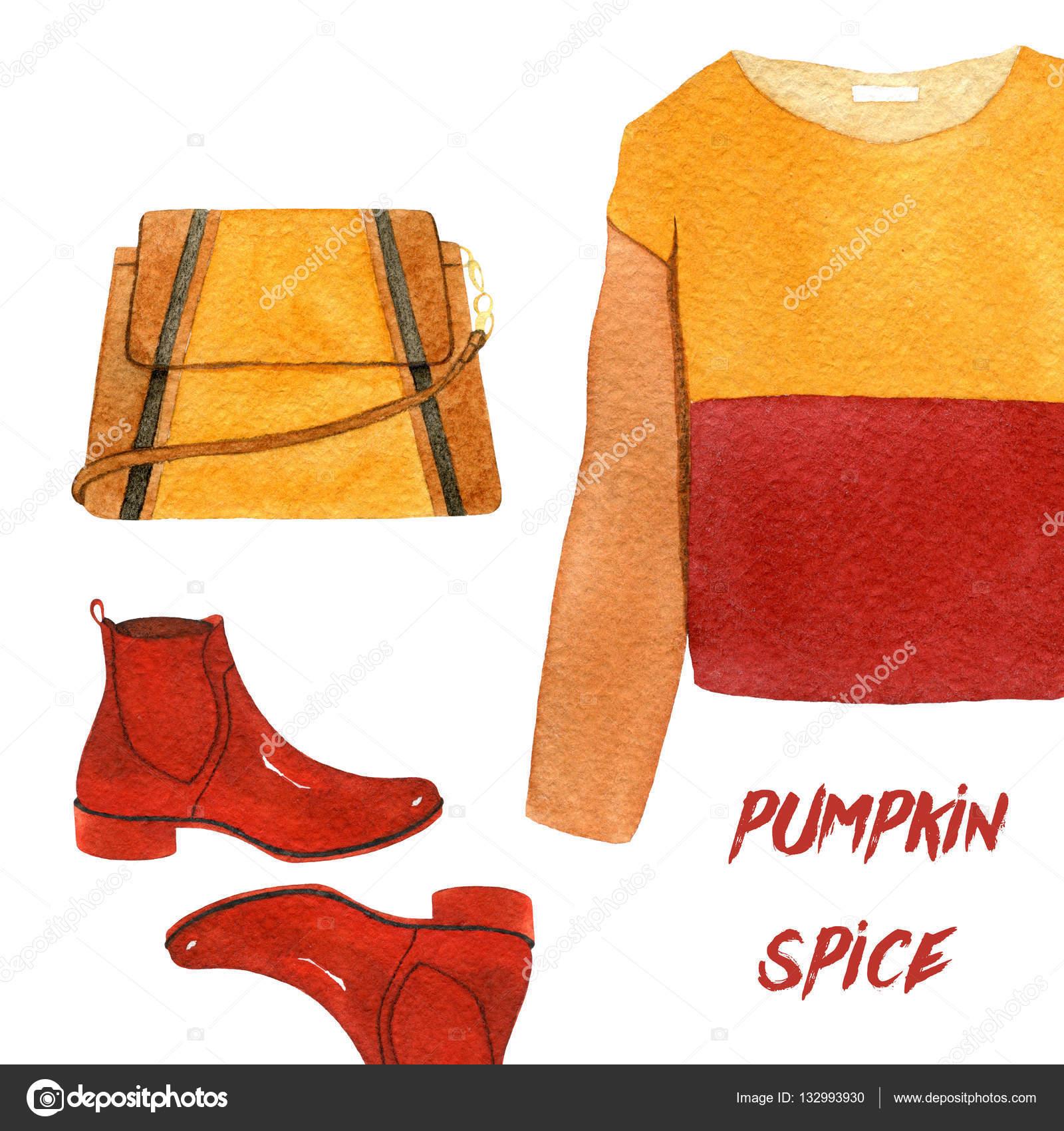 Akvarell divat illusztráció. trendi őszi tartozékok és szegfűszeg halmaza.  tök spice 6d8953984e