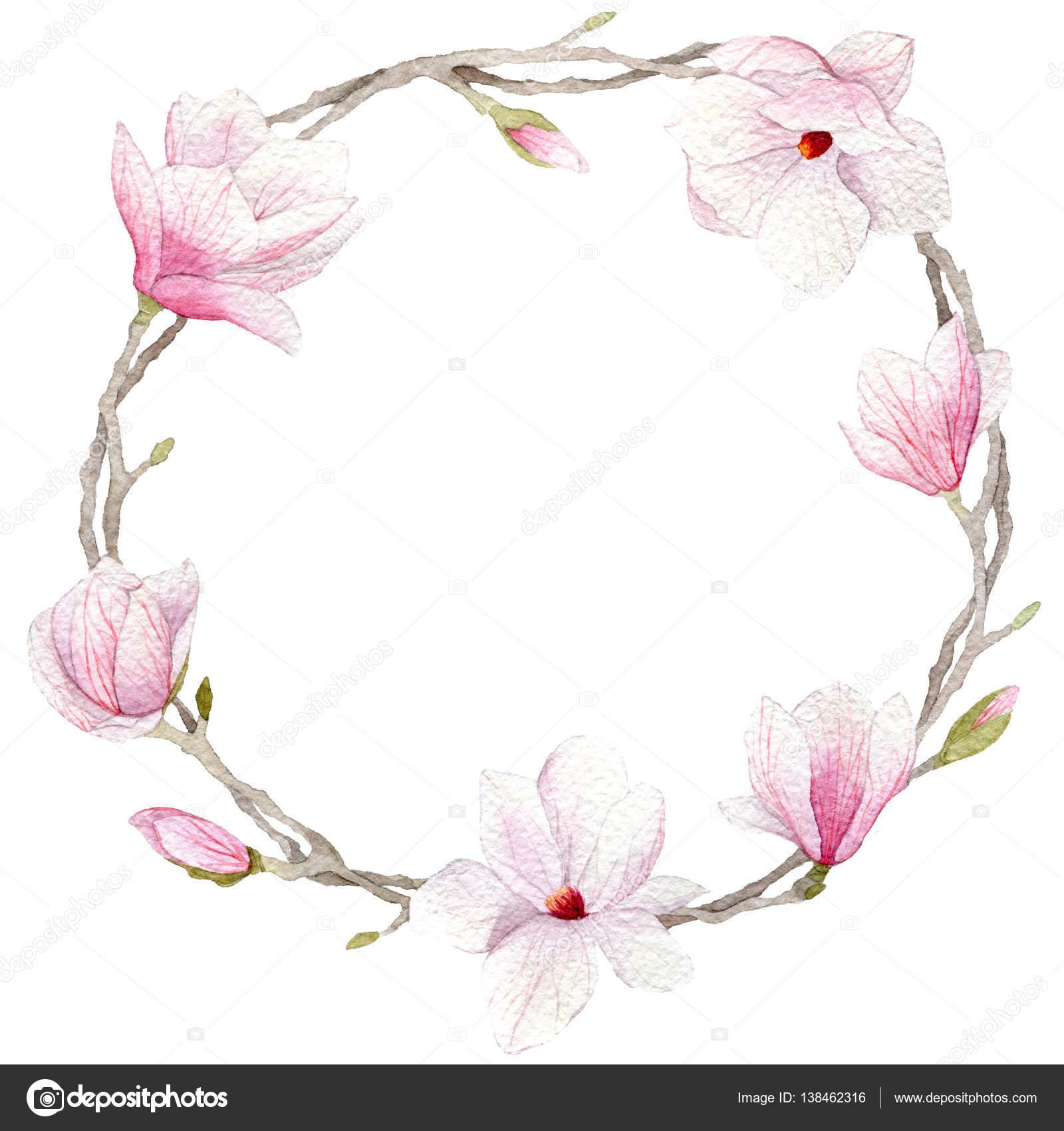 spring watercolor magnolia wreath blossoms hand drawn magnolia clipart black and white magnolia clipart black and white