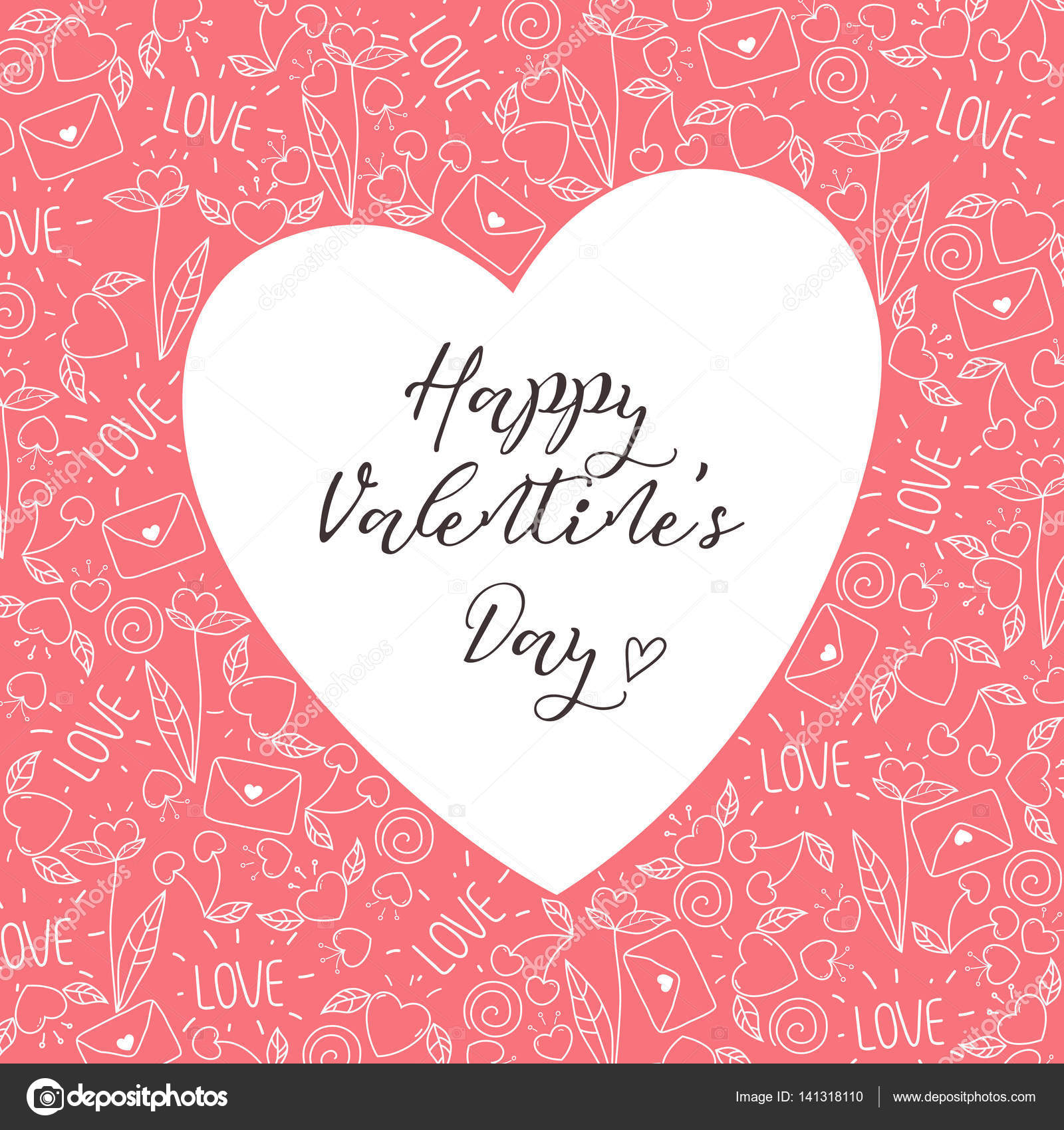 Herz-Rahmen mit doodle Valentine Elemente und calligraphy.happy zum ...