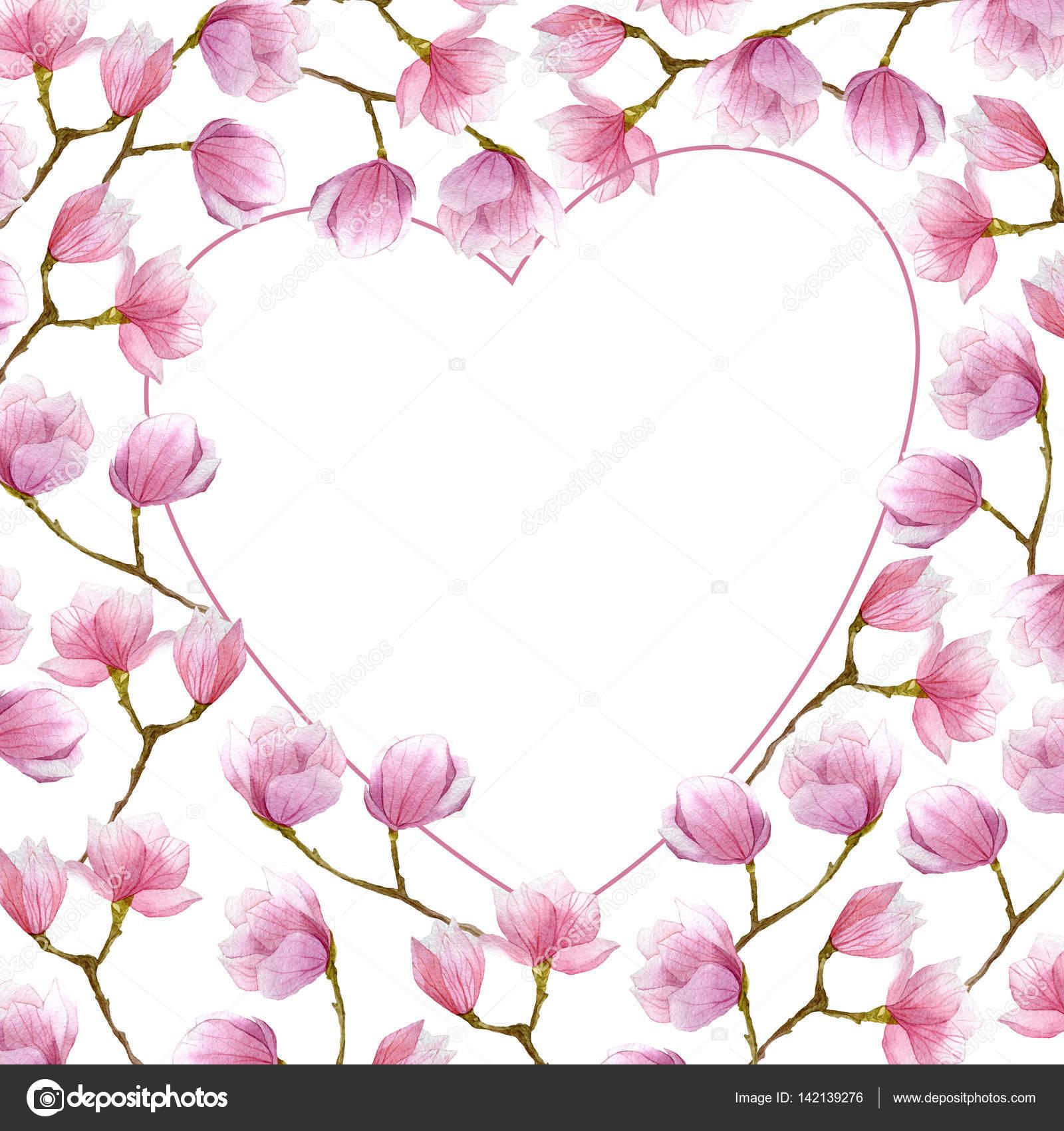 marco magnolia acuarela en forma de corazón para el diseño de la ...