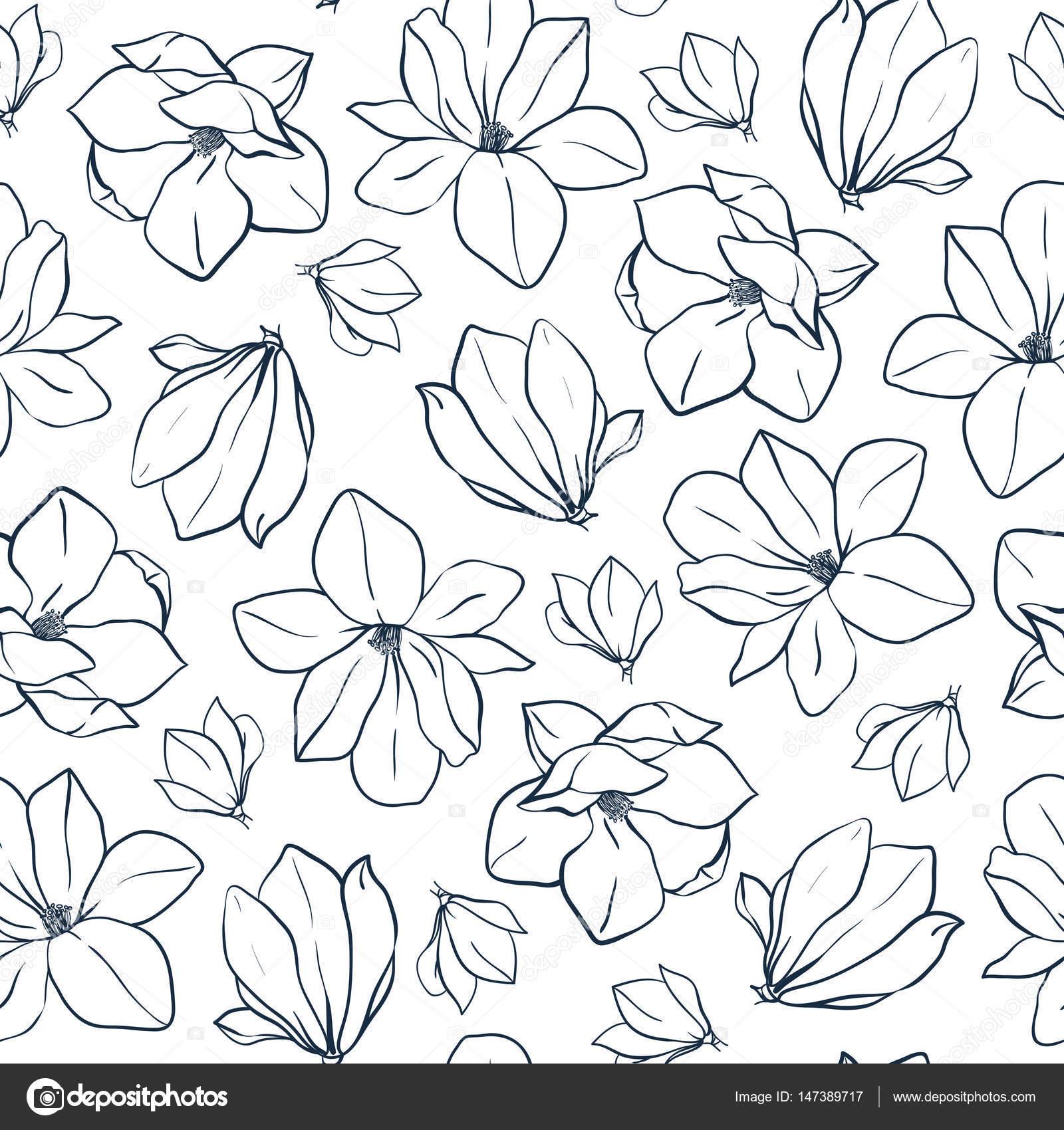 Gráfico Magnolia Flores Y Brotes Patrón Transparente De Vector