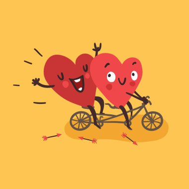 Couple in love. Two happy hearts biking. Happy Valentines day vector card clip art vector