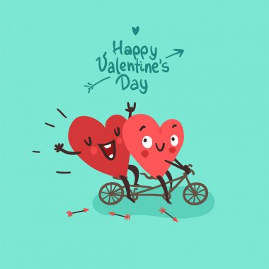 Two happy hearts in love biking. Happy Valentines day Card stock vector
