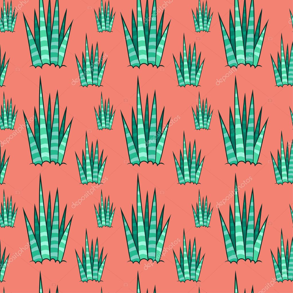 Succulent seamless pattern with red background