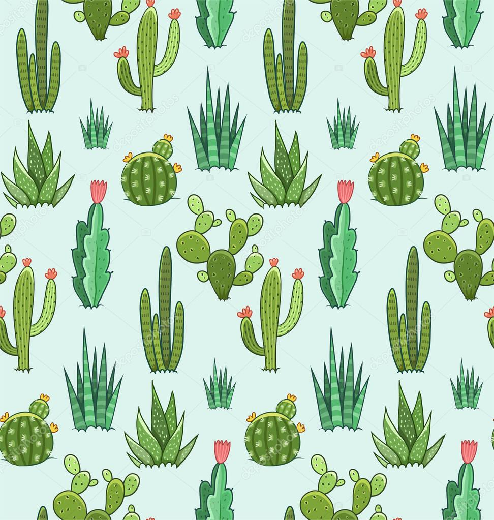 Succulent and cactus seamless pattern