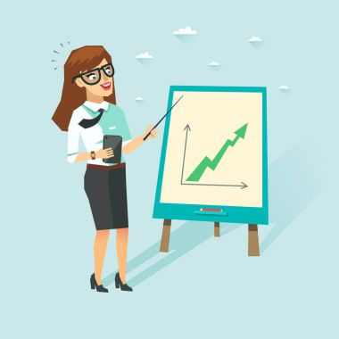 Smart business woman with cup in white shirt showing growing up chart. Student with glasses showing presentation. Vector character in flat style.