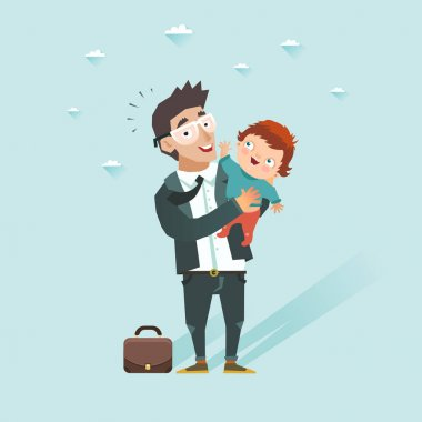 Business man with baby. Happy guy in suit taking son. Father came back home after work and take children at hands. Vector illustration in flat style