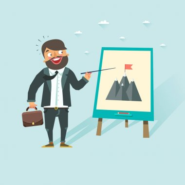 Happy bearded business man showing purpose concept. Chartboard with flag on a peak of mountains. Vector illustration in flat style