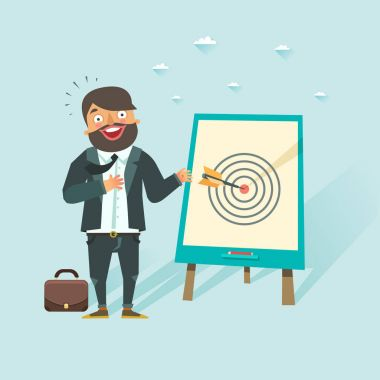 Successful business story concept. Happy businessman got a win in darts. Vector character in flat style.