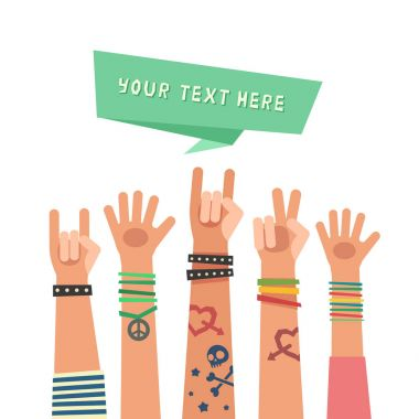 Youth crowd with ribbon for a text. Millennial concept. A lot of hands of young people with different gestures. Vector illustration in flat style