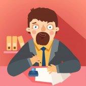 Byrokrat s papíry a razítko