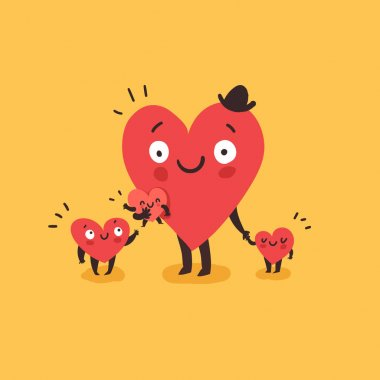 Cute family, daddy with children. Happy Father's day. Hearts characters as symbols of love and family. Vector colorful illustration stock vector