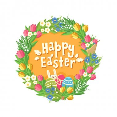 Happy Easter card with Flower wreath, rabbit and eggs.