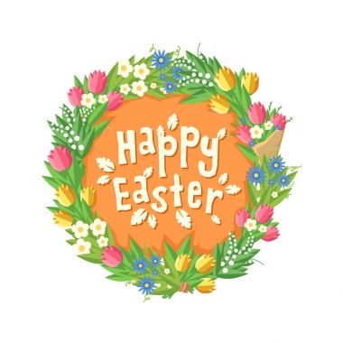 Happy Easter card with Flower wreath