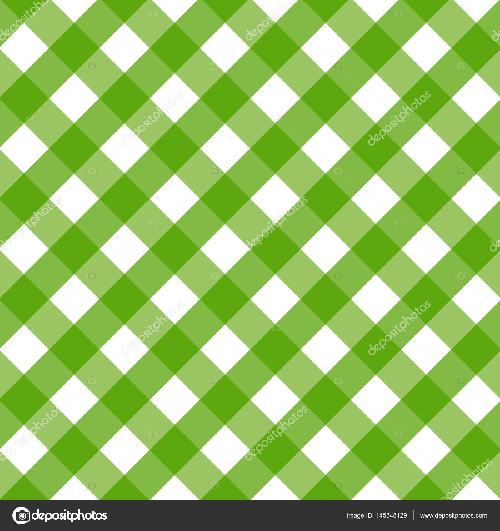 Traditional Tablecloth Pattern. Checkered Tablecloths Pattern Green.  Background Of Diagonal U2014 Stock Vector