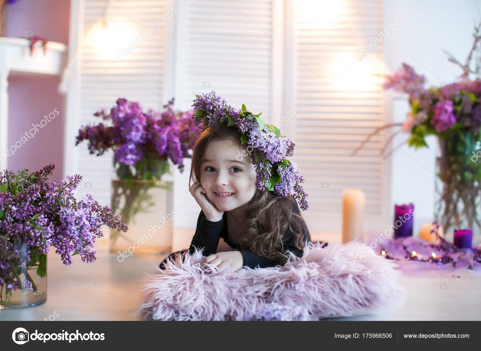 Little Smiling Girl Posing Lying Floor Purple Flowers Bouquets ...