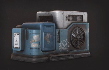 Generator air condition 3d illustration isolated