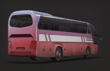 3d illustration bus on the background