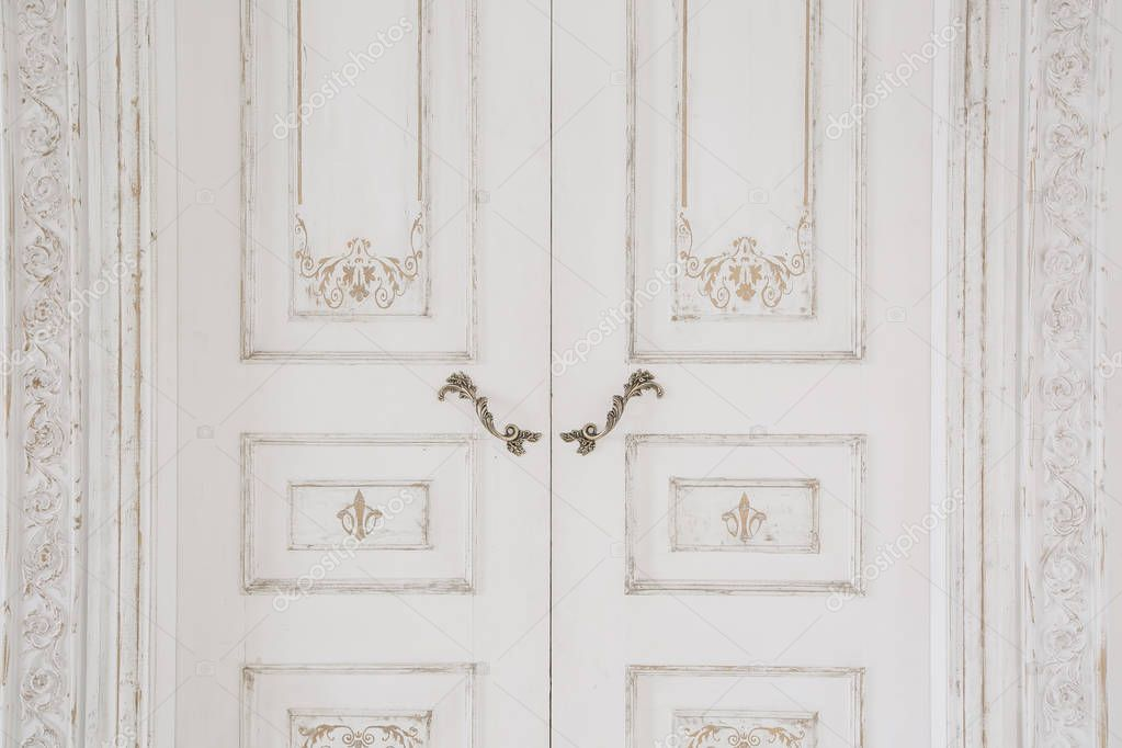 Old Style Door White Handle Closeup Antiques Interior Stock