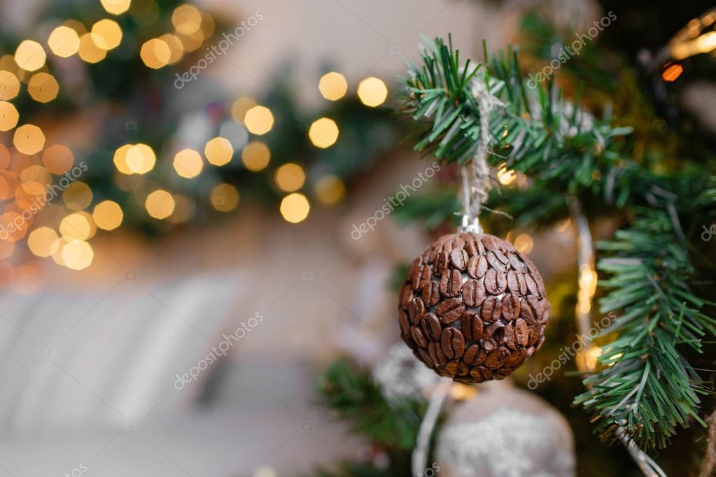 Decorative Ball Of Coffee Beans Close Up Decorated Christmas Tree On Blurred Sparkling And Fairy Background Photo By MalkovKosta