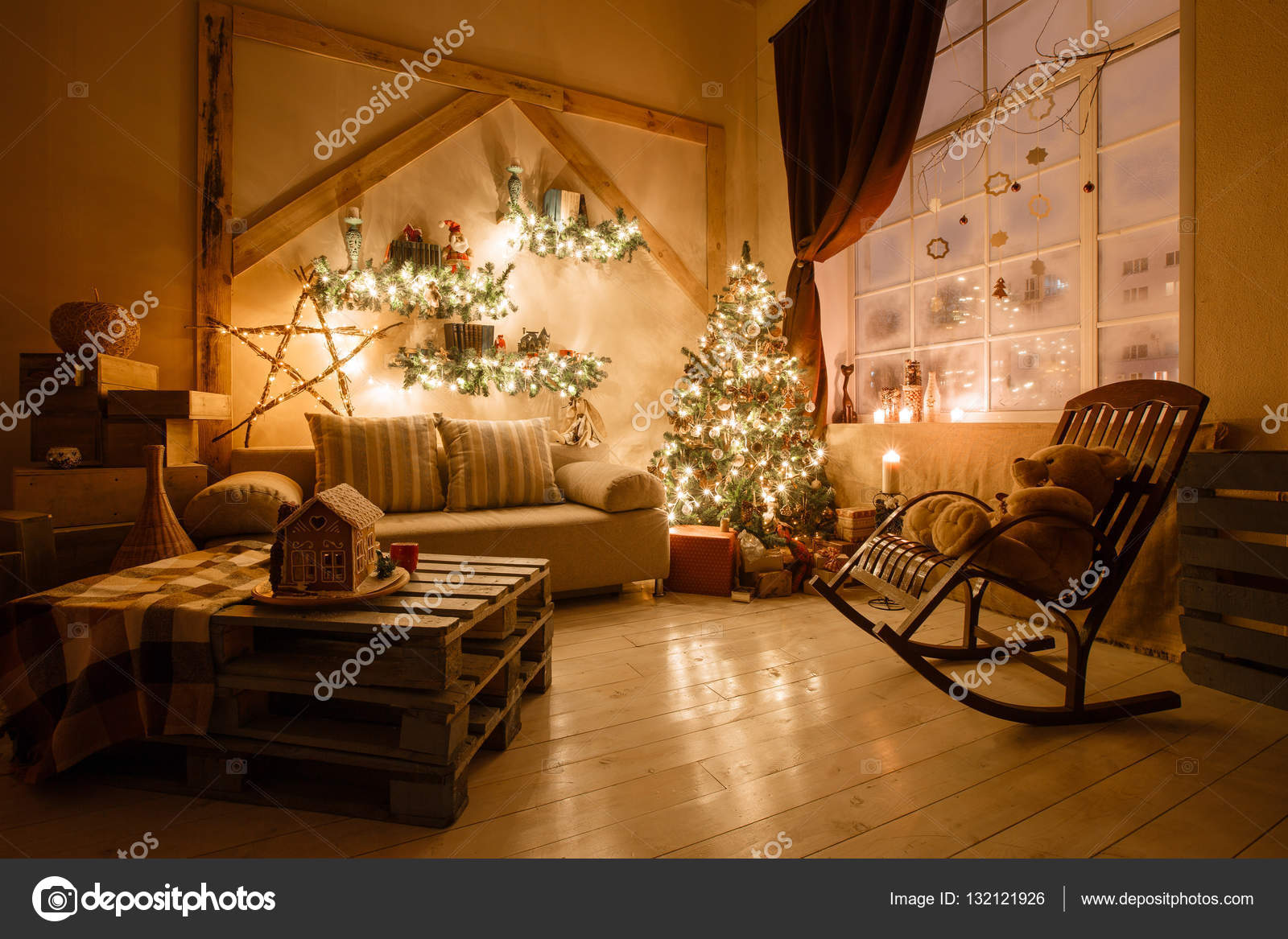 calm image of interior modern home living room decorated christmas tree and gifts sofa table covered with blanket photo by malkovkosta