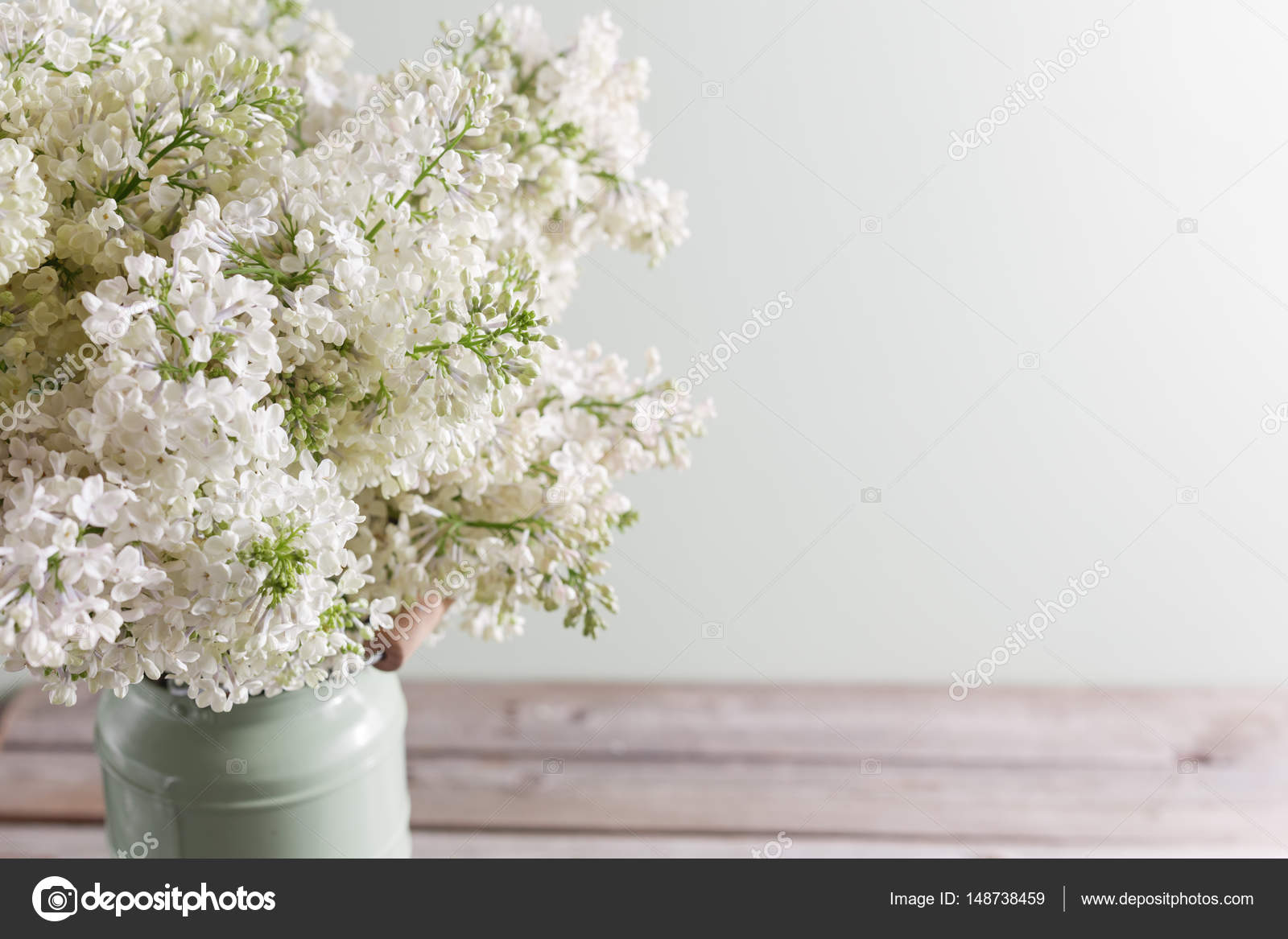 Lilac White Syringa Flowers In Vase Spring Background With White