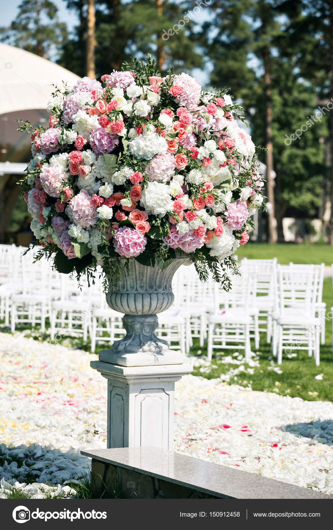 Beautiful wedding ceremony design decoration elements with fresh beautiful wedding ceremony design decoration elements with fresh flowers composition floral design petals roses and chairs photo by malkovkosta junglespirit Image collections