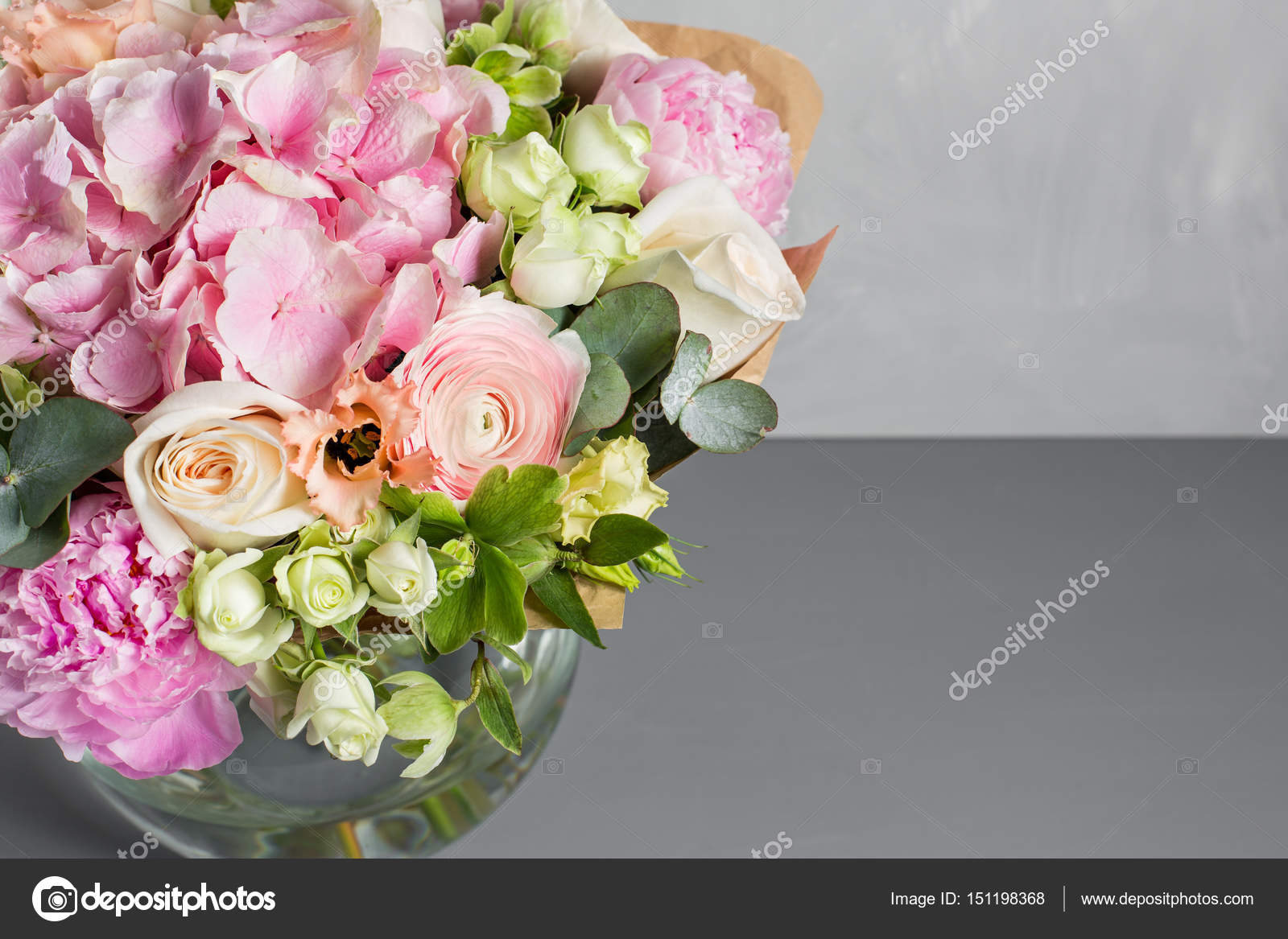 Still Life With A Bouquet Of Flowers The Florist Put Together A