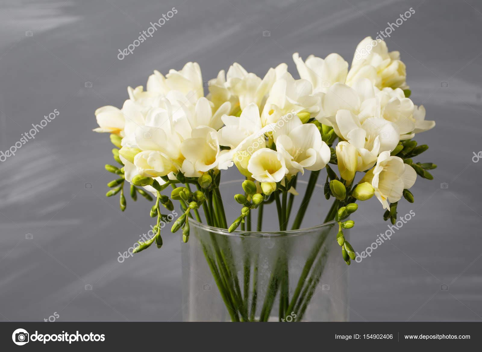 White freesia flowers in decorative vase on a background of gray white freesia flowers in decorative vase on a background of gray wall stock photo mightylinksfo