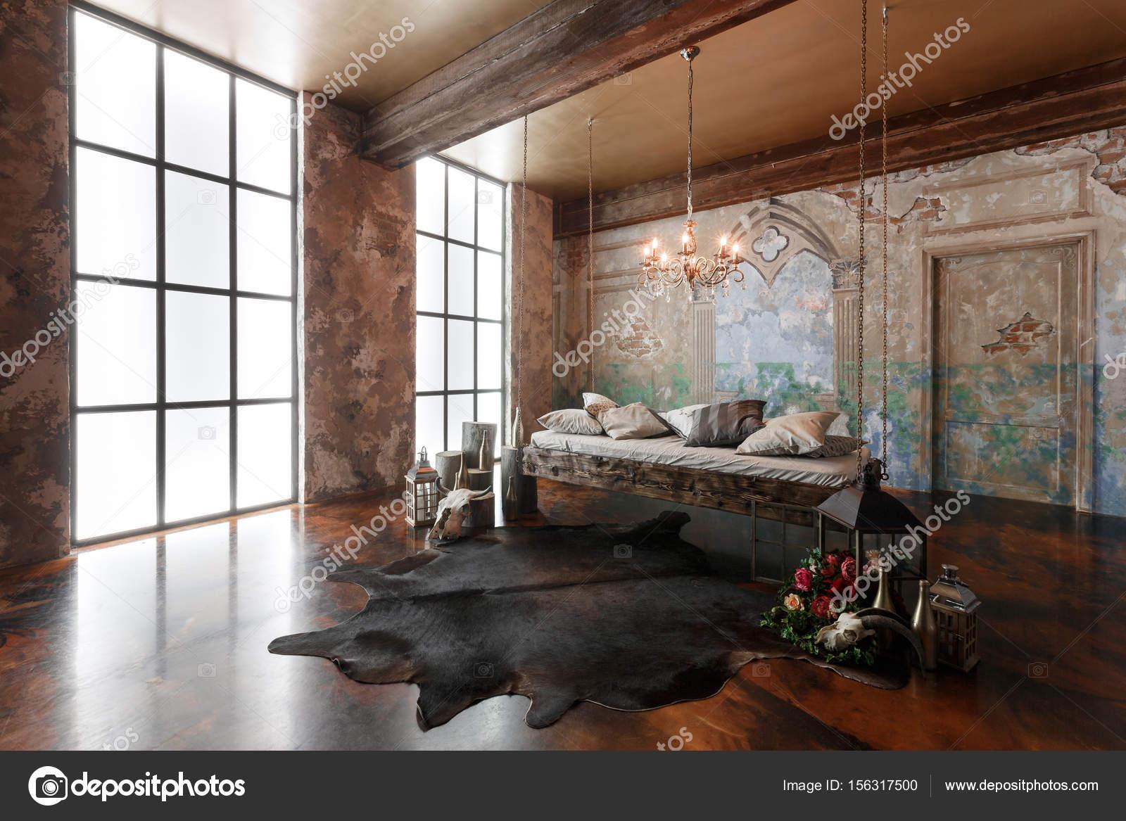 Interieur loft met hangende bed in de moderne design u2014 stockfoto