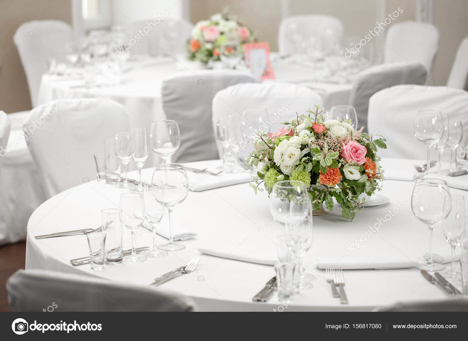 Table setting festive round tables ready for guests. u2014 Stock Photo & table setting festive round tables ready for guests. u2014 Stock Photo ...