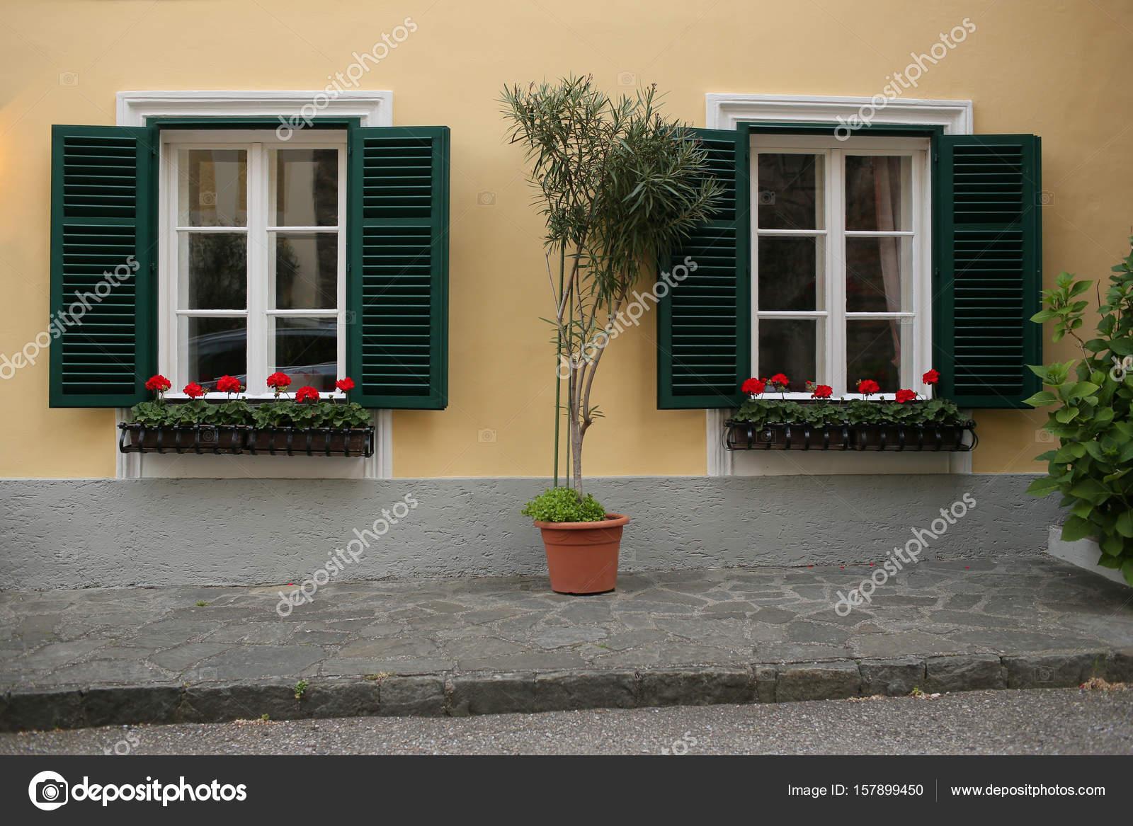 una típica ventana austríaca con verdes shuters persianas y ventanas ...