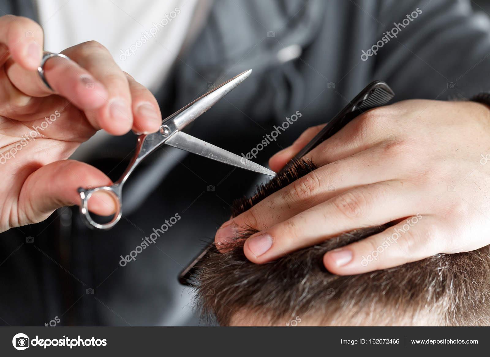 Mens Haircut With Scissors At Salon Stock Photo Malkovkosta