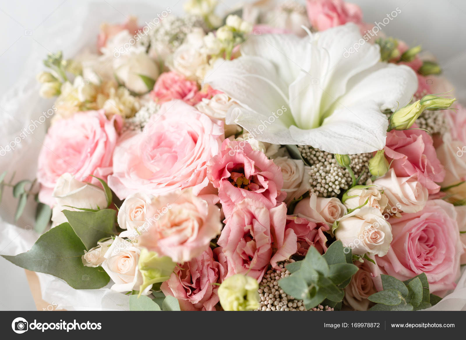 Flower Composition On A Gray Background Wedding And Festive Decor