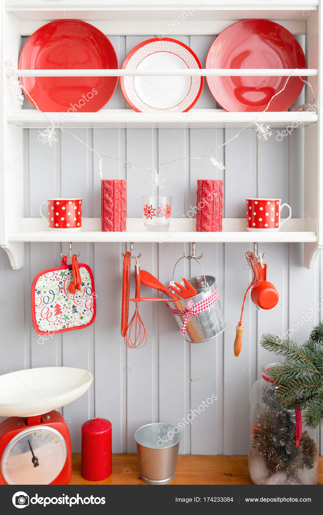 Shelves With Dishes Interior Light Grey Kitchen And Red Christmas - Grey kitchen shelves