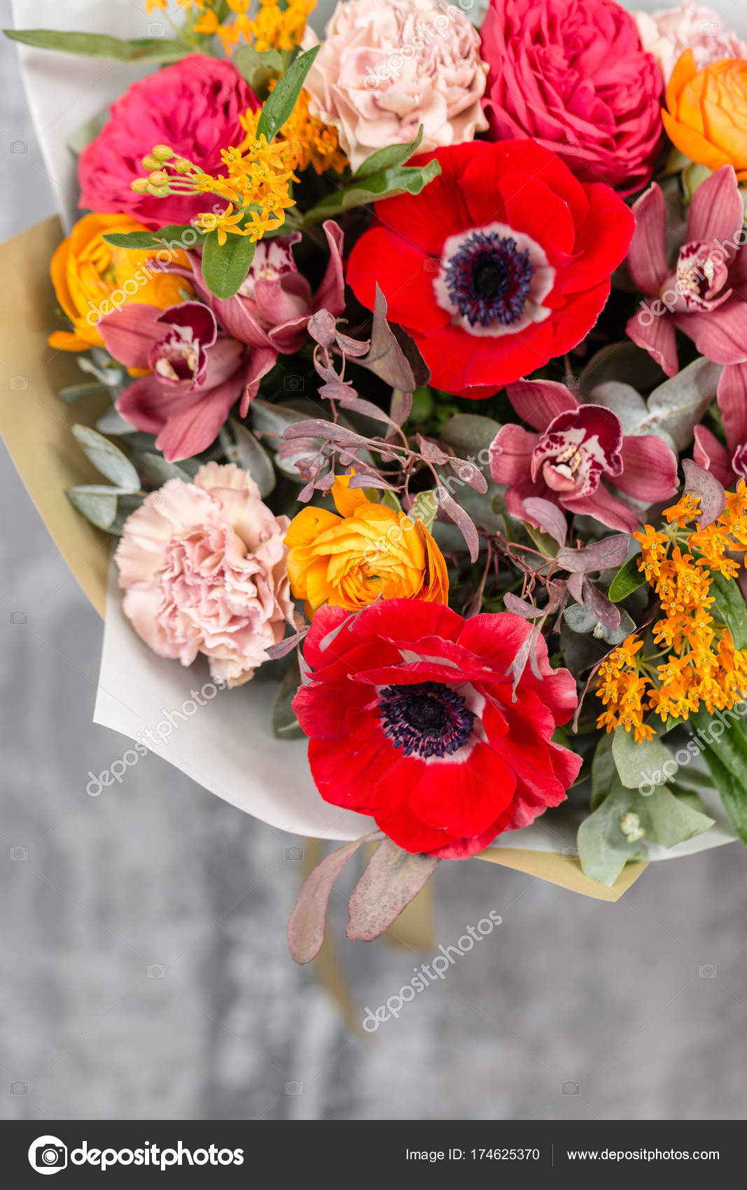 colorful background of flowers. the work of the florist at a flower ...