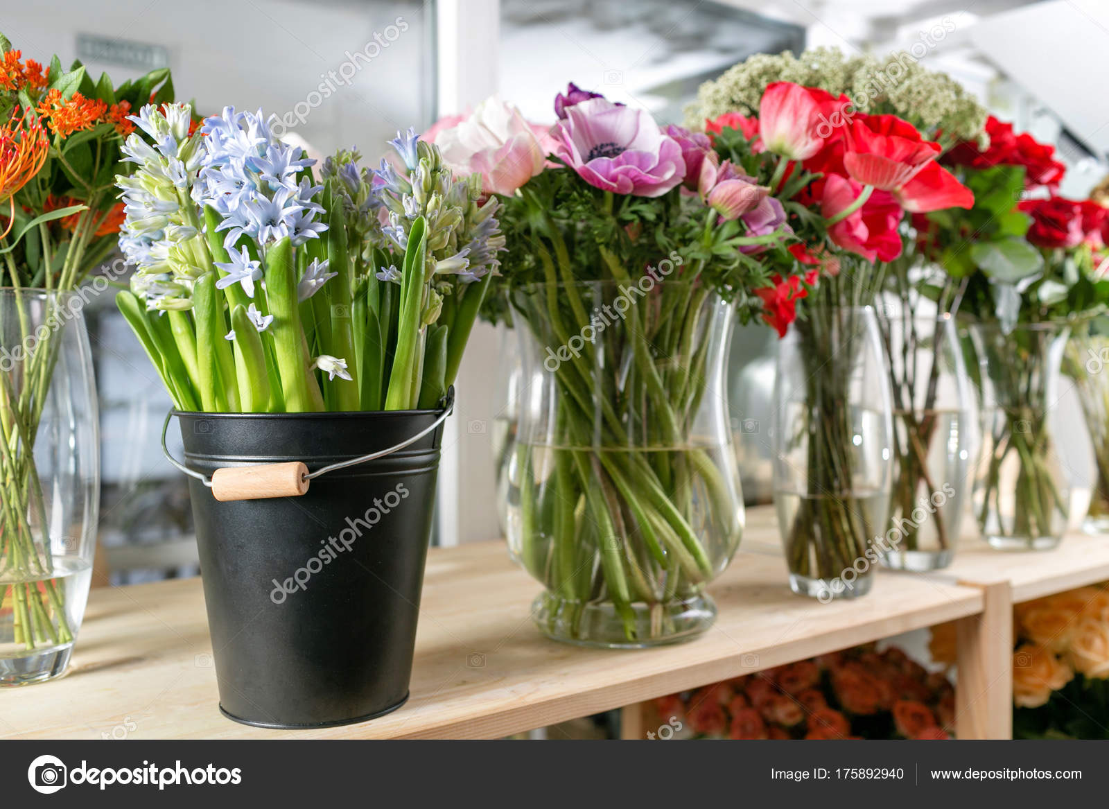 different varieties. Fresh spring flowers in refrigerator for ...