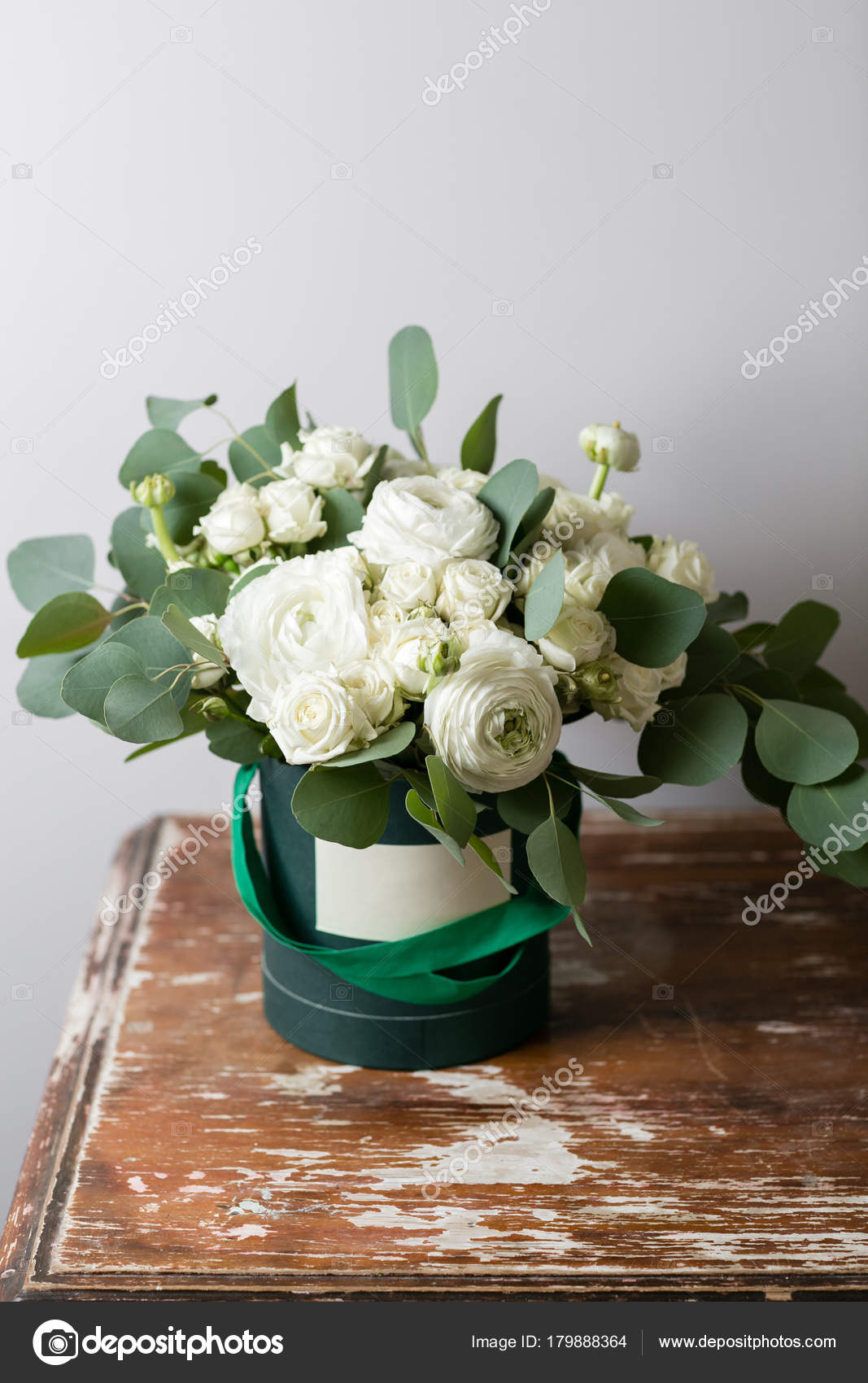 Mixed White Flowers Bouquet Of Spray Roses And Ranunculuses In A