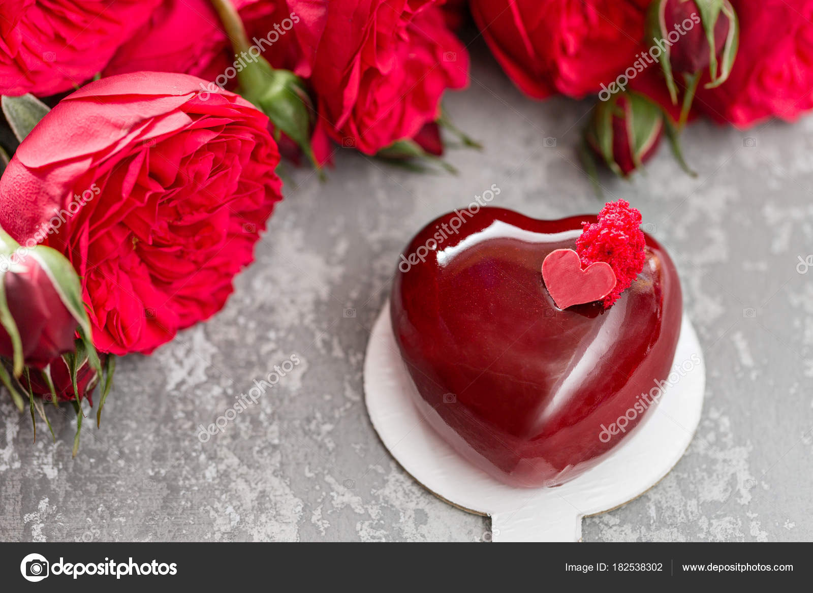 Valentines Day Or Birthday Greeting Card Cake In The Form Of A Red