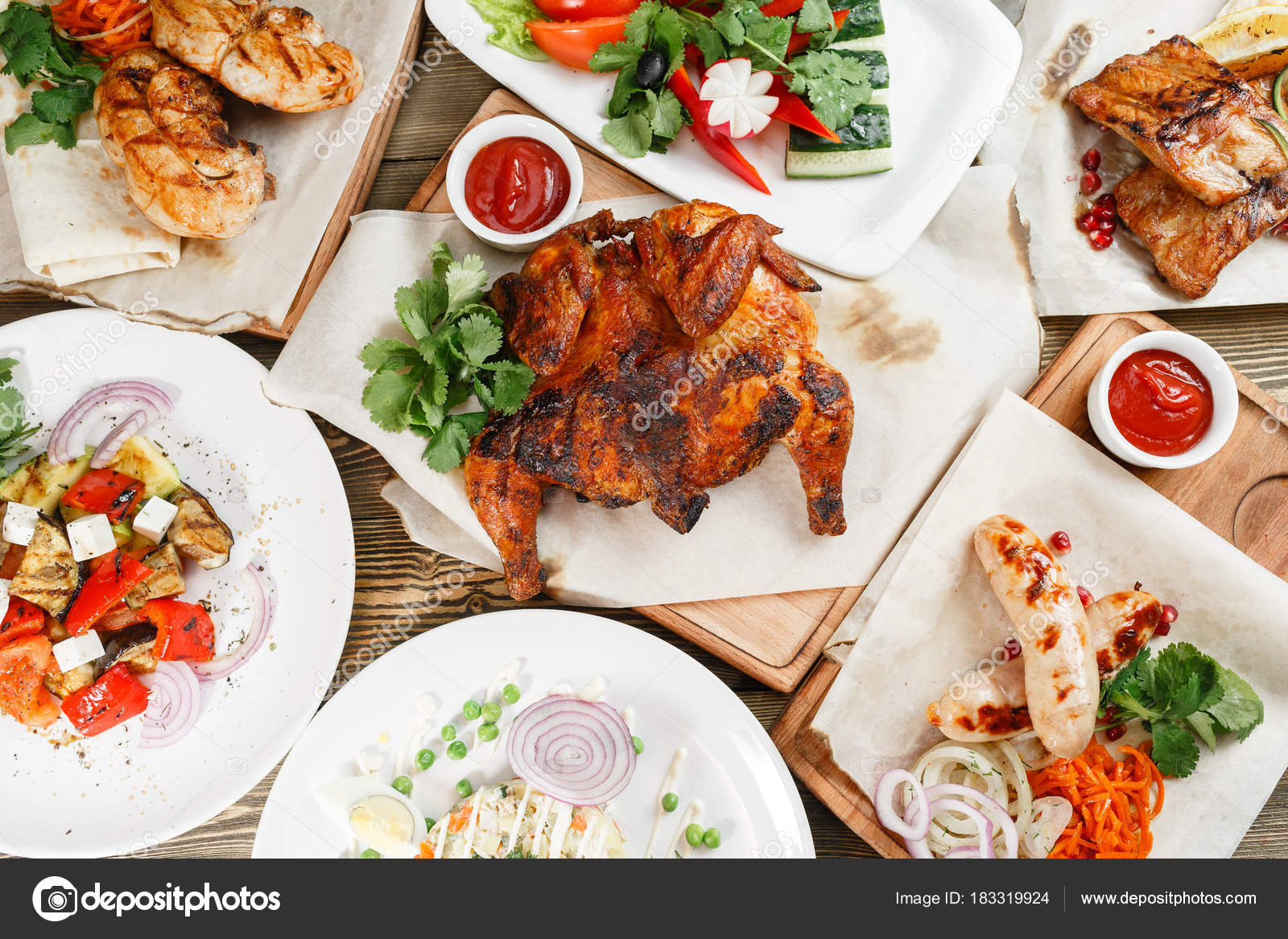 Serving On A Wooden Board Rustic Table Barbecue Restaurant Menu Series Of Photos Different Meats Food To Beer Photo By MalkovKosta