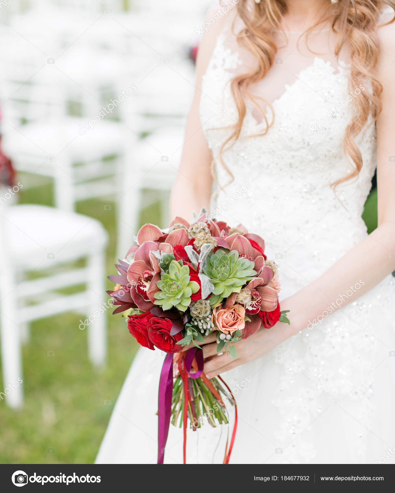 Stunning Red Bridal Bouquet On White Chair Wedding Ceremony Mix Of