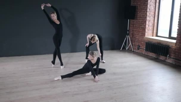 Young ballerina girls. Women at the rehearsal in black bodysuits. Prepare a theatrical performance