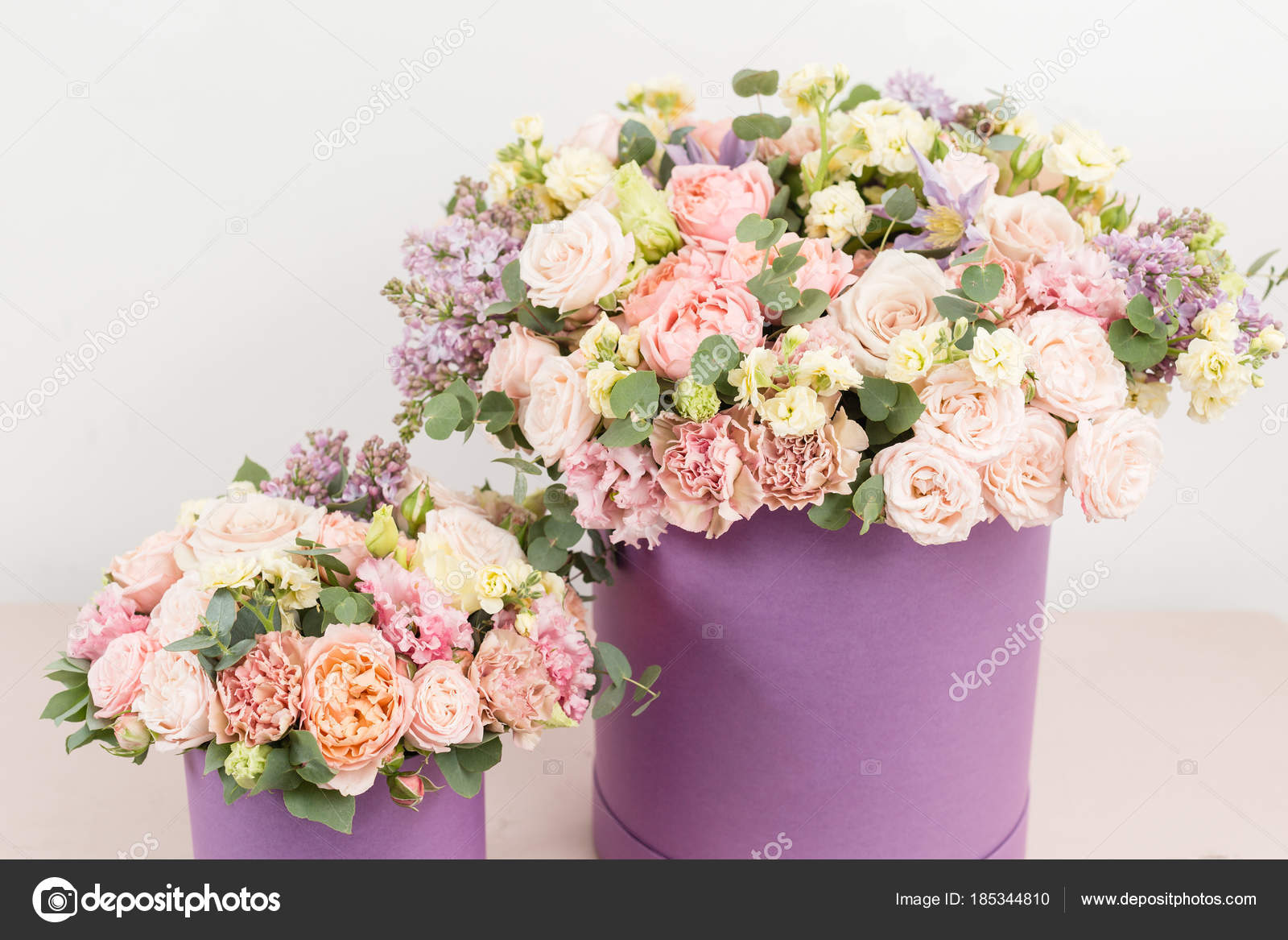 Beautiful Luxury Bunch Of Mixed Flowers On Pink Table The Work Of