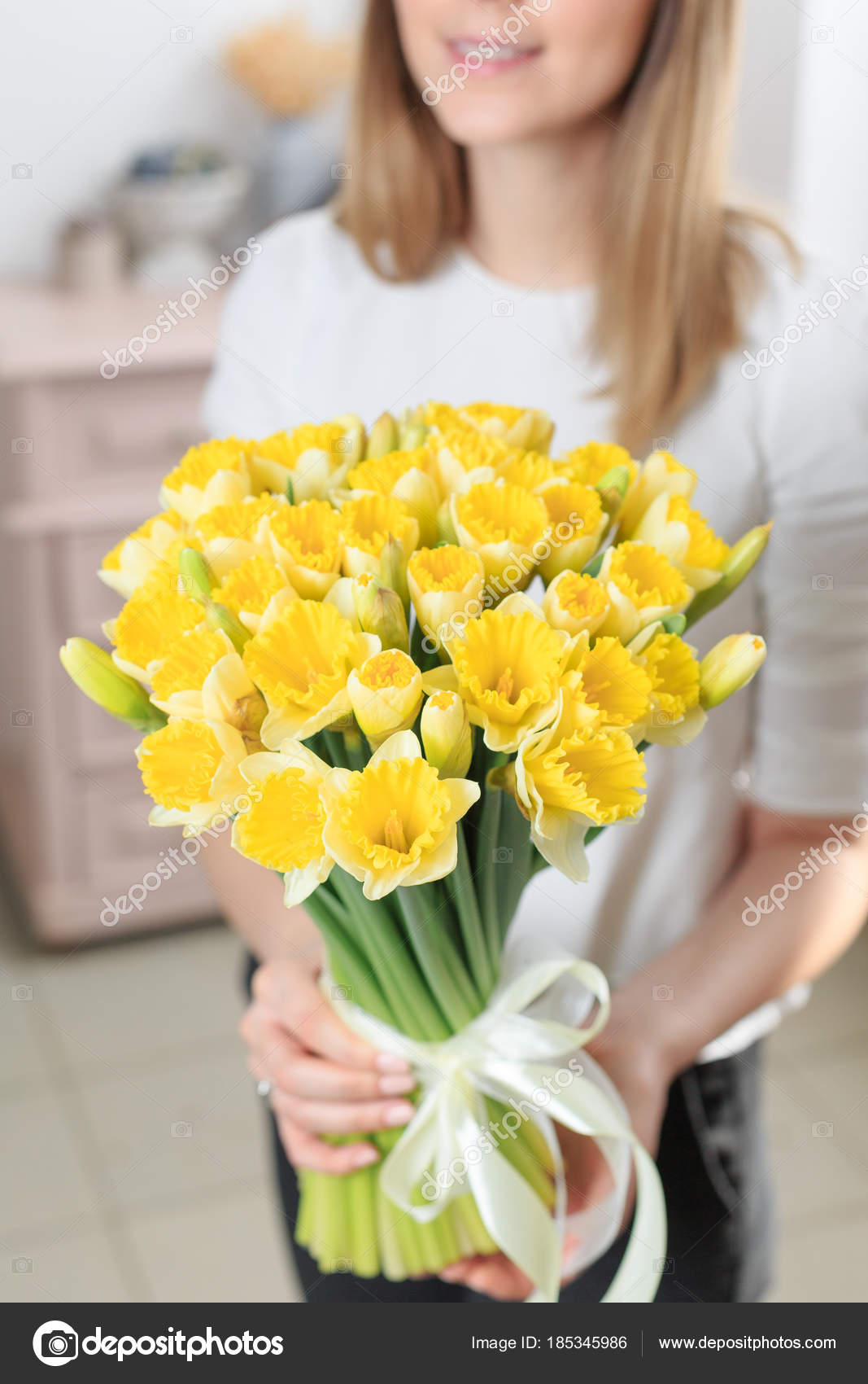 Bouquet Of Delicate Yellow Color Beautiful Luxury Bunch Of Mixed