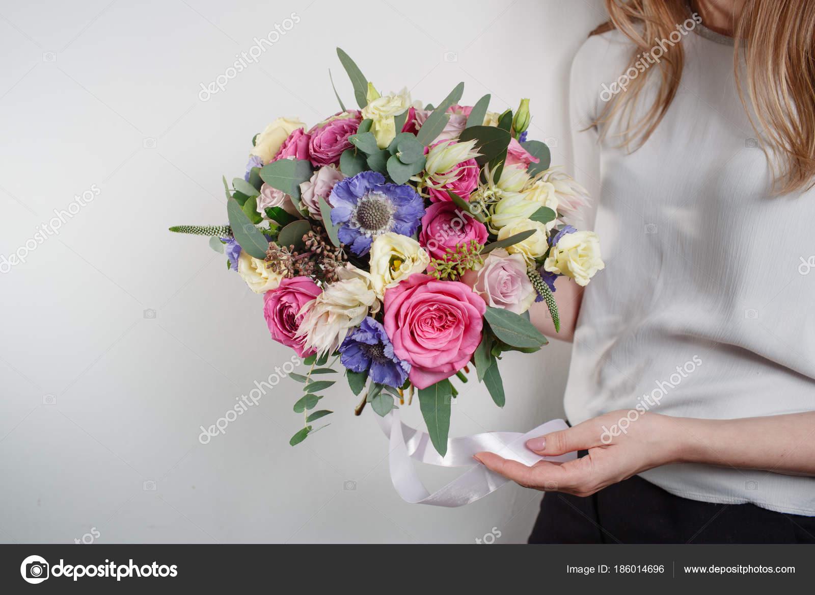 Composition De Fleurs Couleur Rose Vert Lavande Bleu Bouquet De