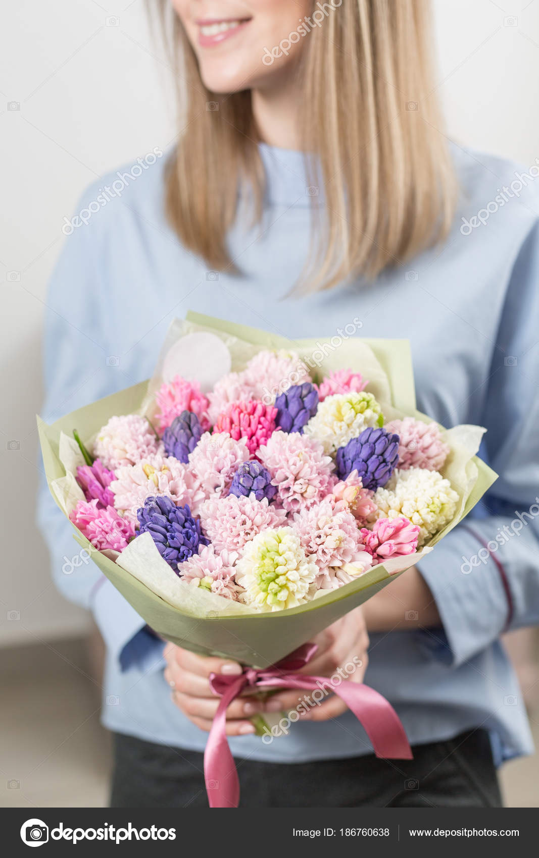 Sunny Spring Morning Young Happy Woman Holding A Beautiful Bunch Of