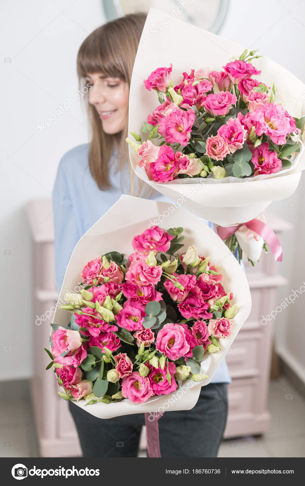 Two Flowers Bouquet Sunny Spring Morning Young Happy Woman Holding