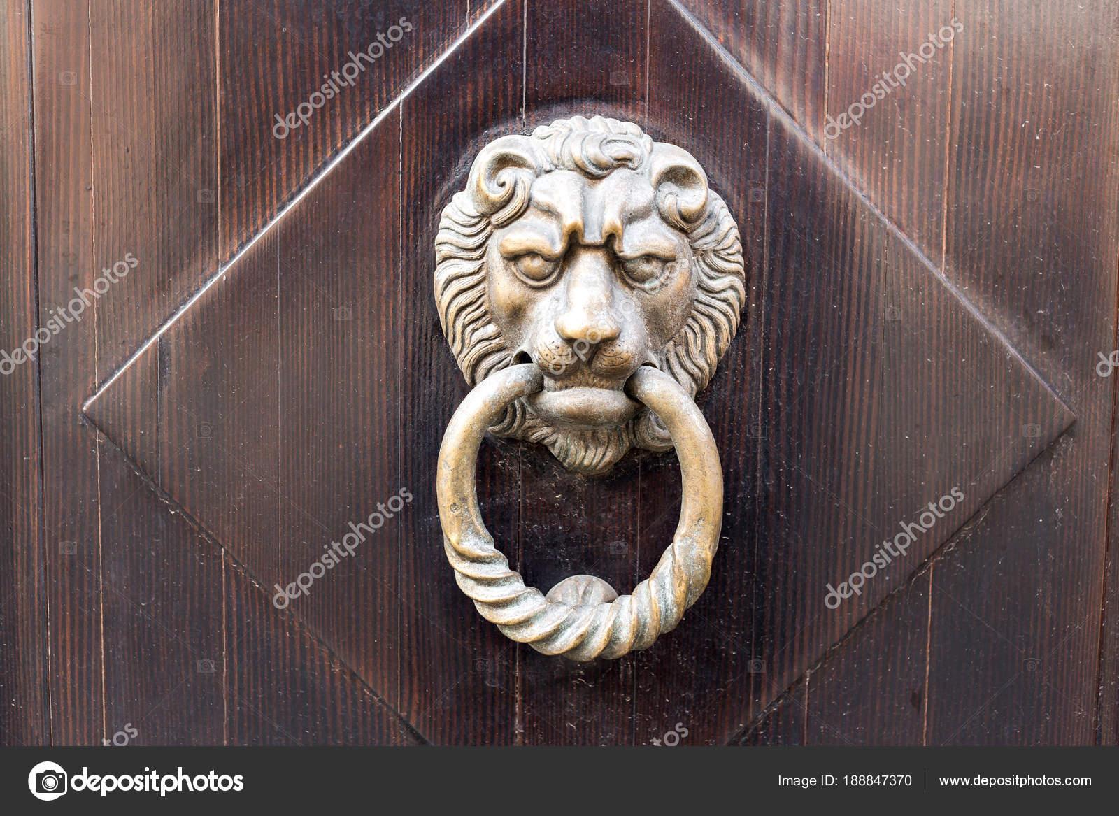 Old Wooden Door. Heads Of Lion On The Front . Vintage Door Knocker. U2014